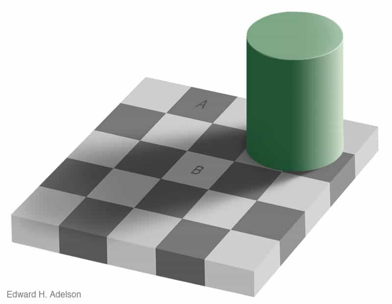 Checkerboard illusion by Edward H. Adelson